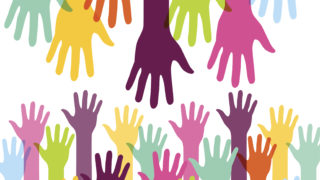 Creative Colorful Helping Hand Background