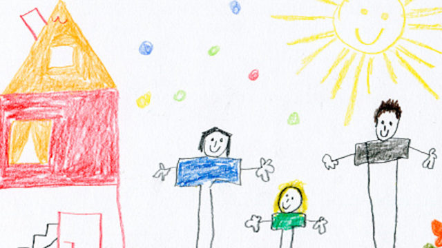 Childrens drawing of happy family and house